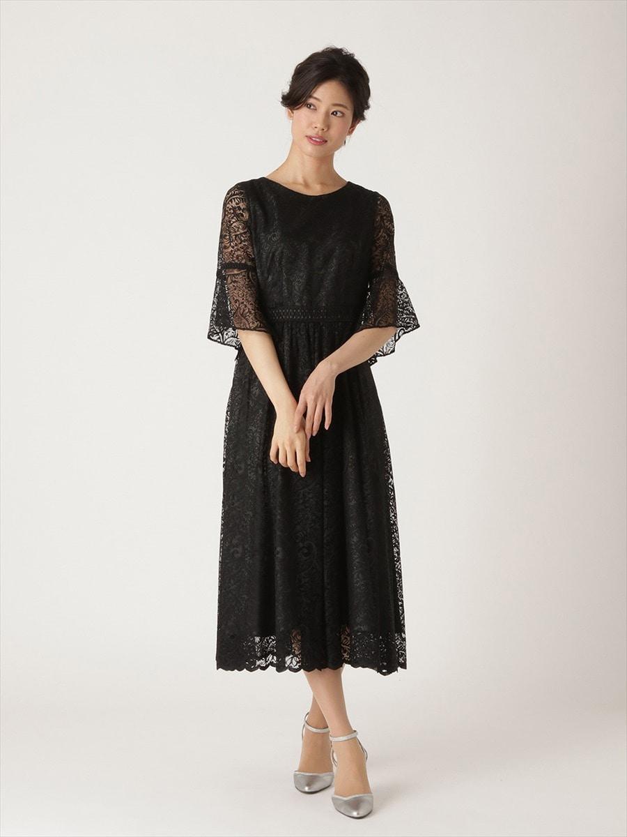 フレアスリーブ・ハシゴレースドレス