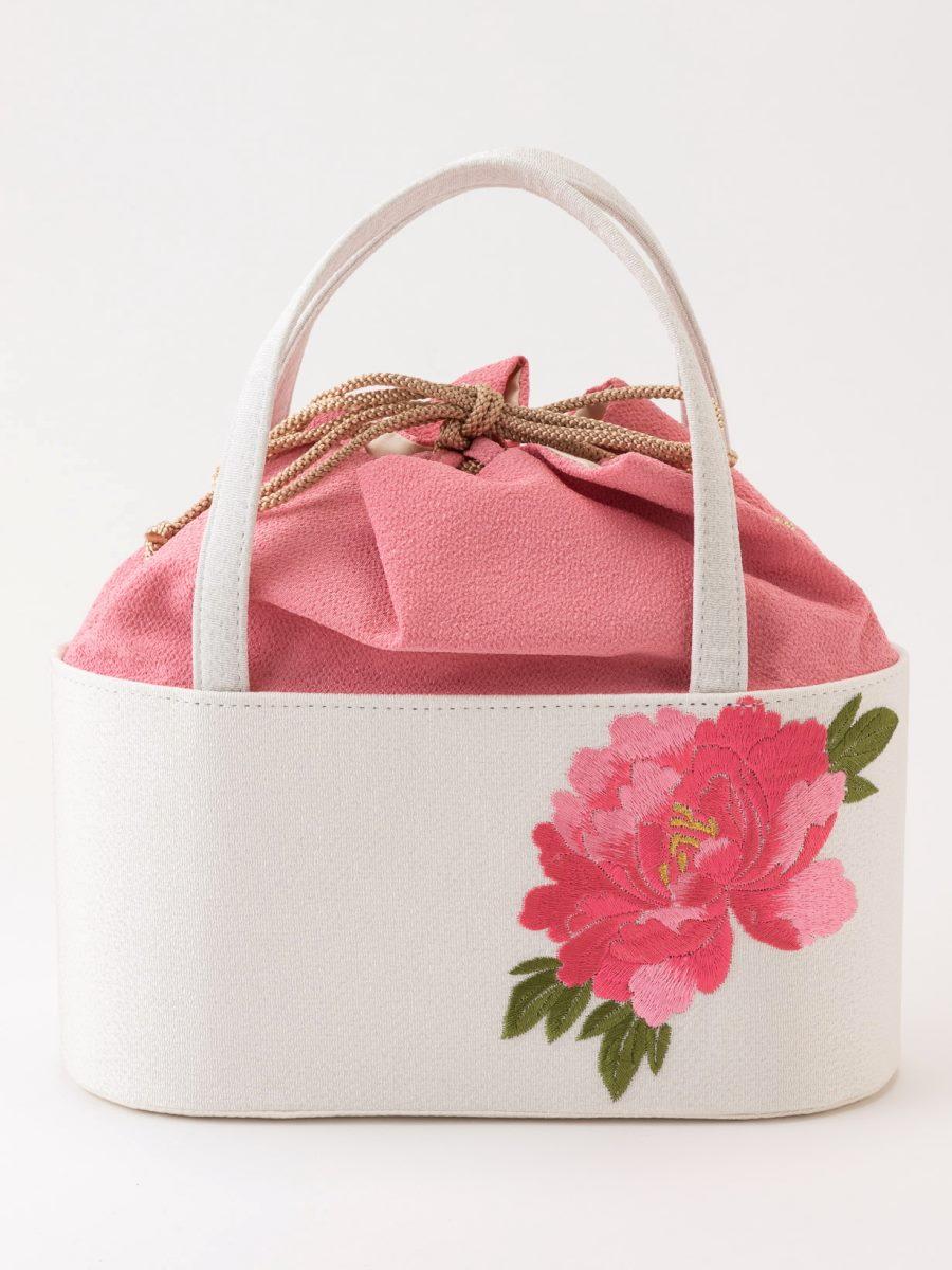 牡丹刺繍入り和装バッグ