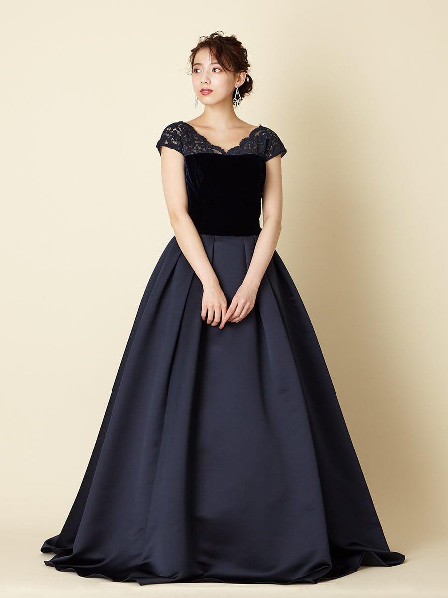 ベルベット×サテンロングドレス