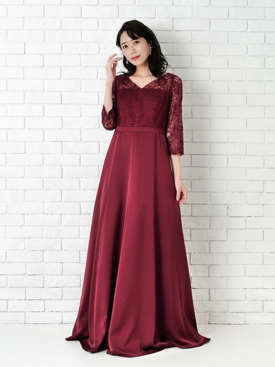 コードラッセルレース袖付きロングドレス