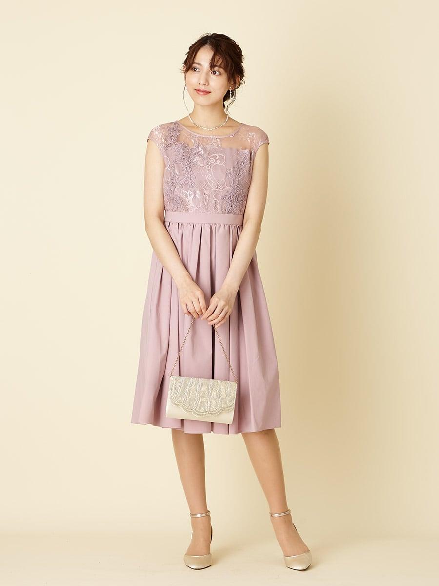 微配色レース フレンチスリーブドレス