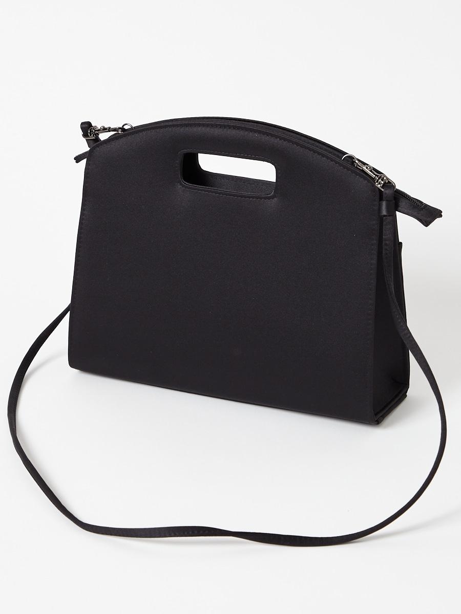 くり手デザイン ショルダー付きブラックバッグ