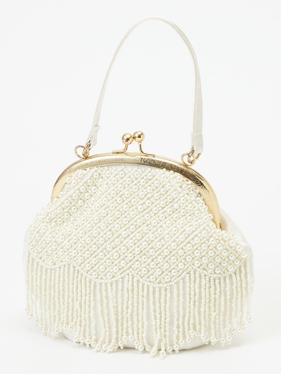 パール刺繍ハンドバッグ