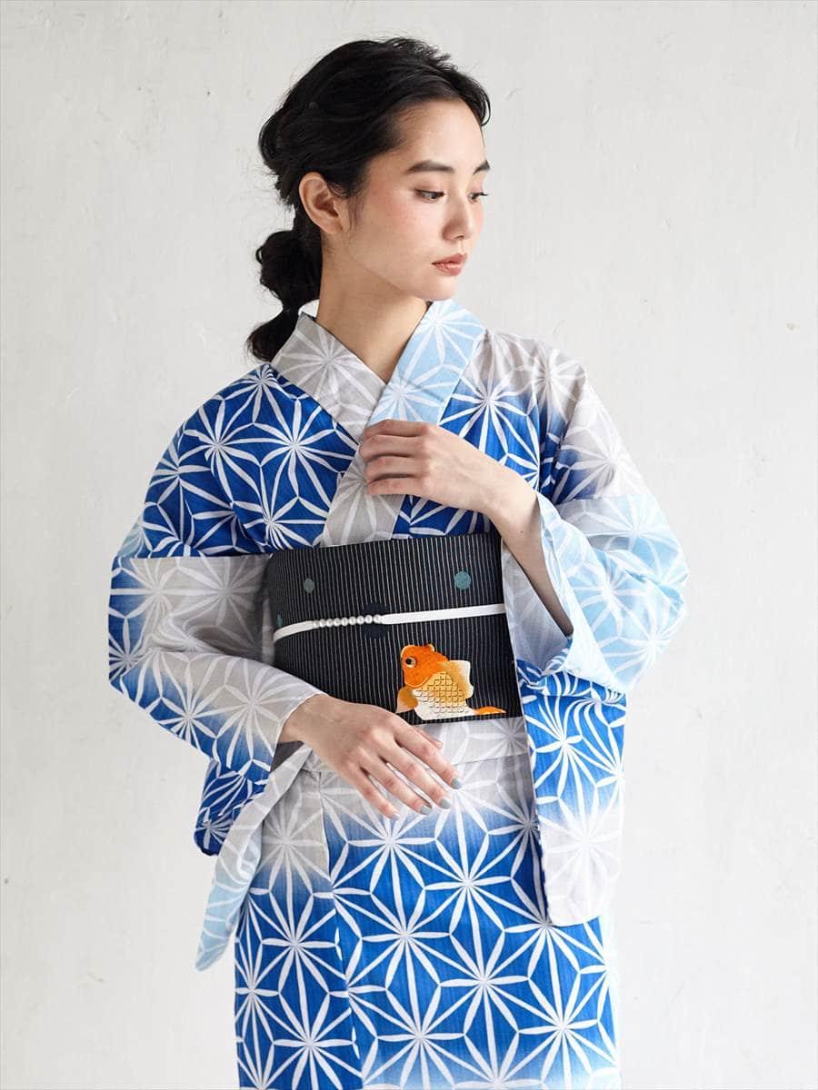 浴衣「麻の葉キリコ」~Natural Furifu