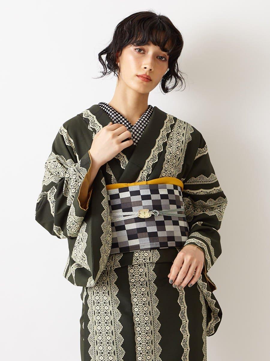 小紋+半巾帯 2点セット
