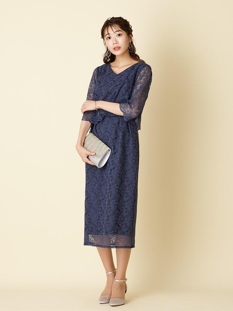 袖付きラッセルレースIラインドレス
