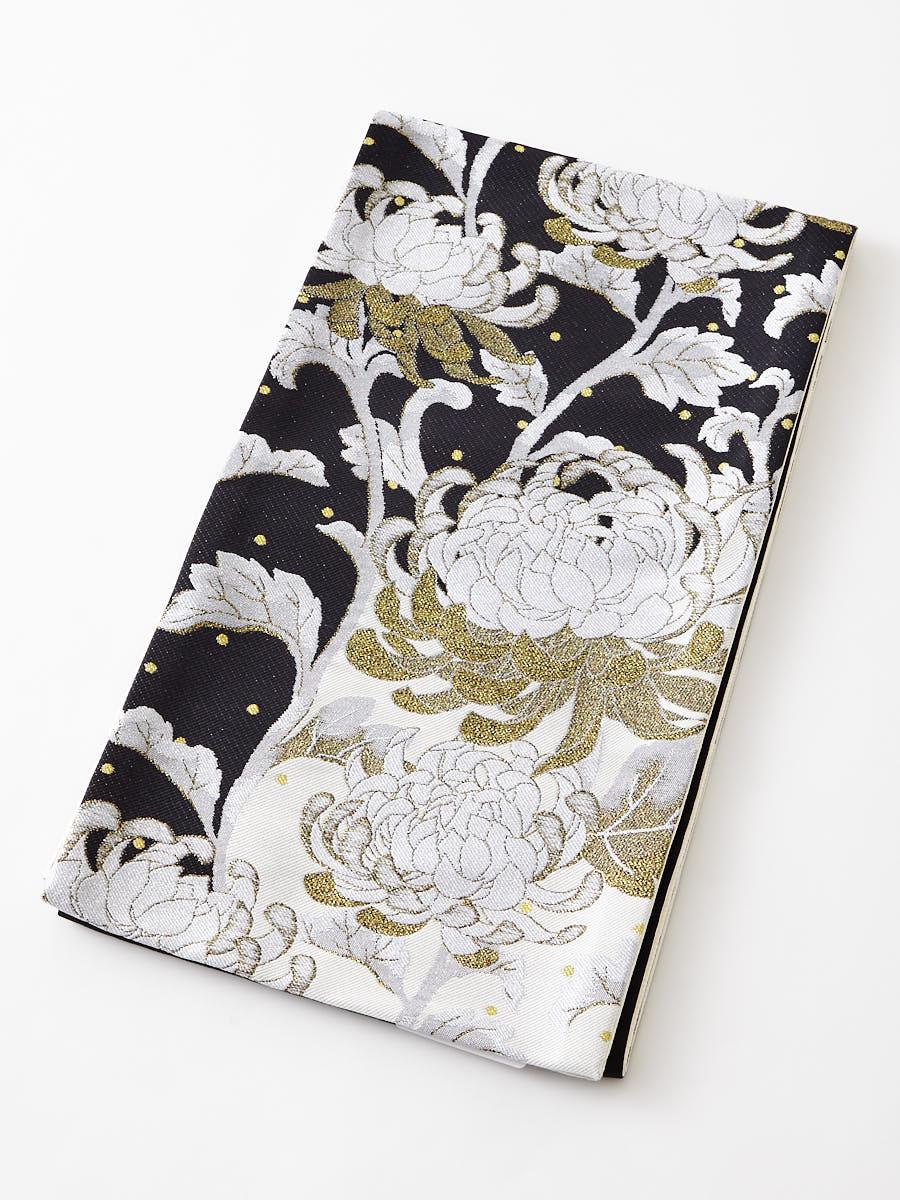 袋帯「切替花刺繍」
